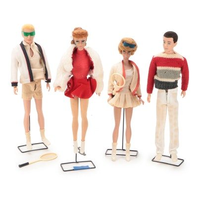 Sporting Barbie and Ken Dolls in Tennis and Figure Skating Attire, Vintage