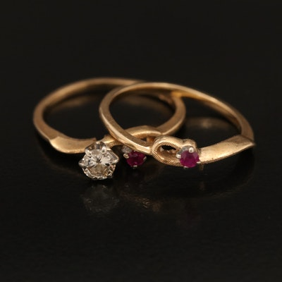 14K 0.25 CT Diamond and Ruby Ring and Ruby Band Set