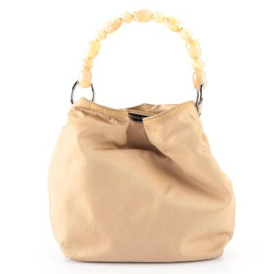 Christian Dior Malice Handbag in Beige Nylon with Leather Trim