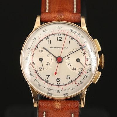 Girard Perregaux 14K Chronograph Stem Wind Wristwatch