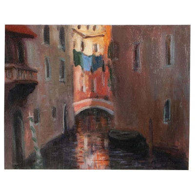 """Nino Pippa Oil Pinting """"Venice - Side Canal Laundry Day,"""" 2019"""
