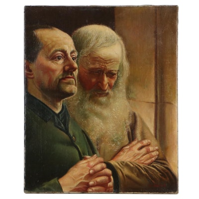 "Jef Leempoels Oil Painting ""A Quiet Reflection,"" Circa 1900"