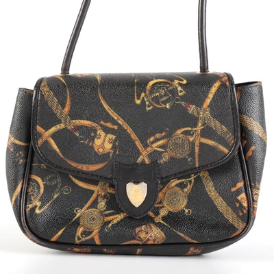 Mark Cross Front Flap Crossbody Bag in Equestrian Print Coated Canvas