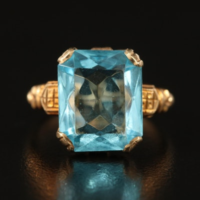 Vintage 10K Glass Statement Ring