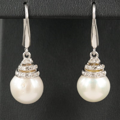 Sterling Silver Pearl and Sapphire Drop Earrings
