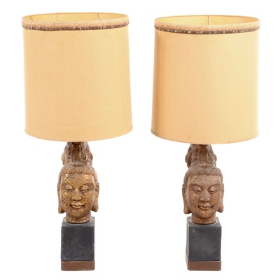 Pair of Molded Plaster Buddha Head Table Lamps, Manner of James Mont