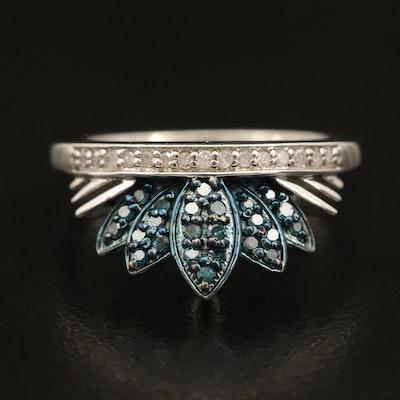 Sterling Diamond Crown Ring