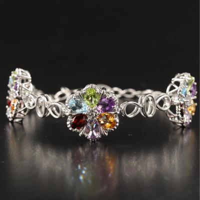 Sterling Silver Amethyst, Garnet and Peridot Bracelet