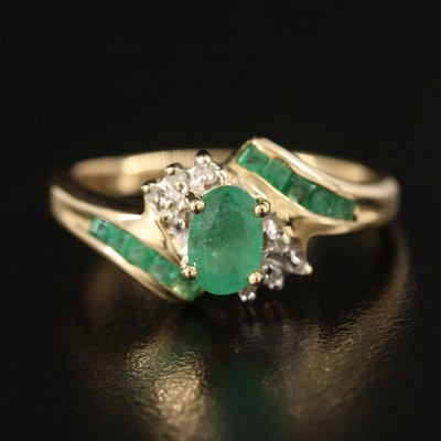 10K Emerald and Diamond Inlay Ring