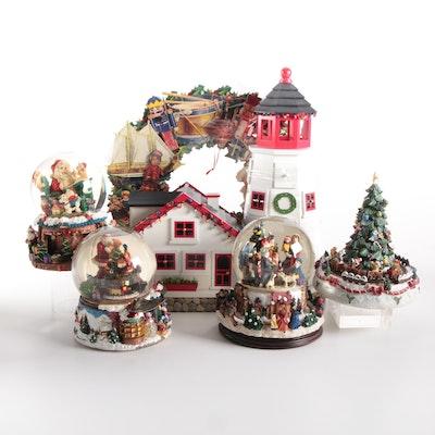 Christmas Snow Globes, Music Box, Light House Advent Calendar and Wreath