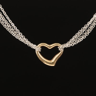 Italian 14K Multi-Strand Heart Necklace with Rose Gold Accent