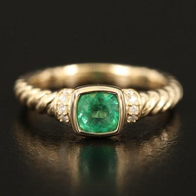 Judith Ripka 14K Emerald and Diamond Ring