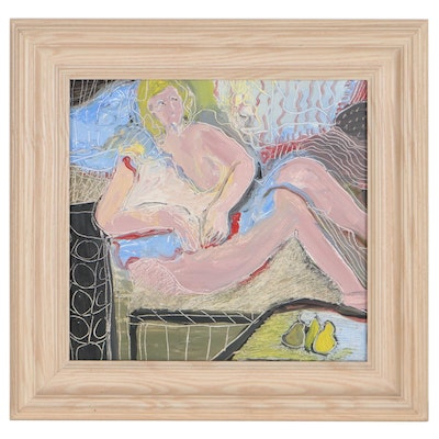 Abstract Oil Painting of Reclining Nude, Late 20th Century