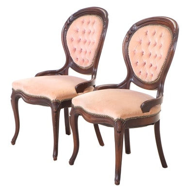 Pair of Victorian Style Walnut Side Chairs, Mid-20th Century