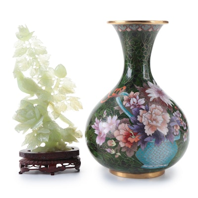 Chinese Cloisonné Floral Vase and Carved Serpentine Bird of Paradise Figurine