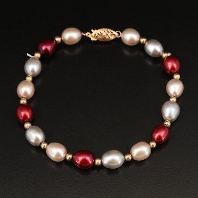 14K Oval Pearl Bracelet
