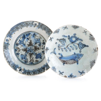 Persian Hand-Painted Blue on White Glazed Earthenware Footed Bowls