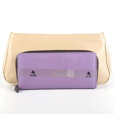 Visconti Purple Leather Wallet with Velez Leather Clutch