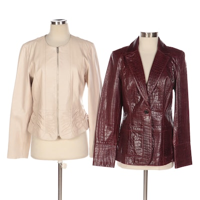 Cole Haan Embossed Lambskin and Margaret Godfrey Ruched Leather Jackets