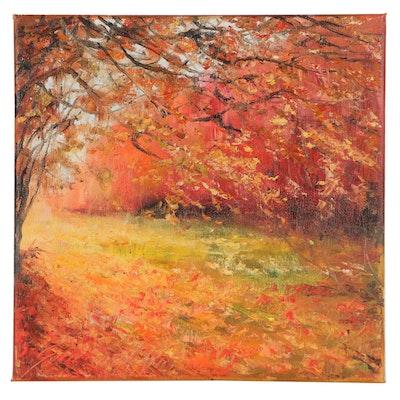 "Garncarek Aleksander Landscape Oil Painting ""Jesien,"" 2021"