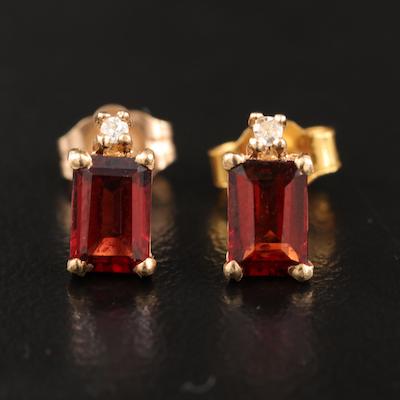 14K Garnet and Diamond Stud Earrings
