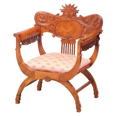 Late Victorian Birch and Maple Curule Armchair, circa 1900