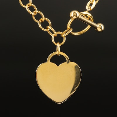 Italian 14K Cable Chain Necklace with Heart Tag