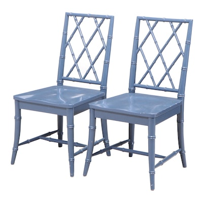 Pair of Universal Furniture Blue-Painted and Faux-Bamboo Chinoiserie Side Chairs