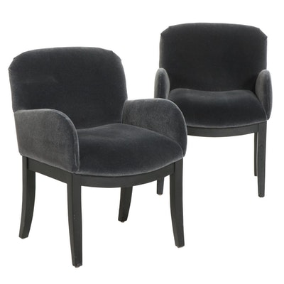 Pair of Contemporary Ebonized Wood and Gray Fabric Upholstered Armchairs