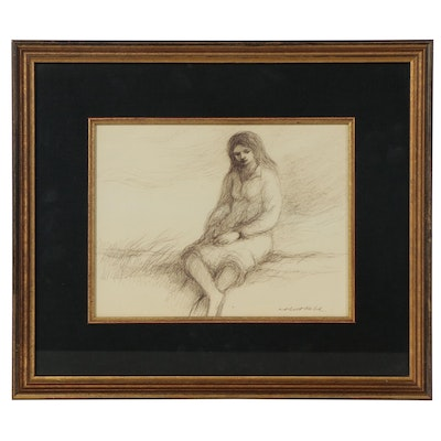Robert Fabe Ink Drawing of Seated Figure, Late 20th Century
