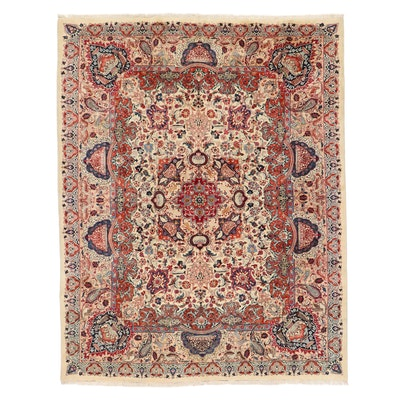 9'10 x 12'8 Hand-Knotted Persian Kerman Pictorial Room Sized Rug
