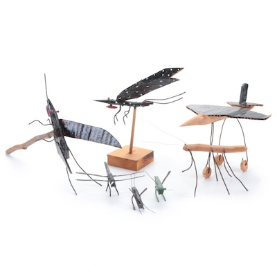 Primitive Folk Art Insect and Airplane Figurines
