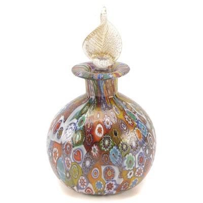 Handblown Murano Millefiori Art Glass Perfume Bottle with Stopper