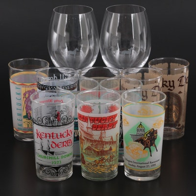 1970s-1990s Libbey Kentucky Derby Julep Glasses with Triple Crown Years