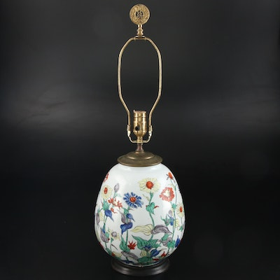 Hand-Painted Coneflowers Ceramic Vase Table Lamp, Contemporary