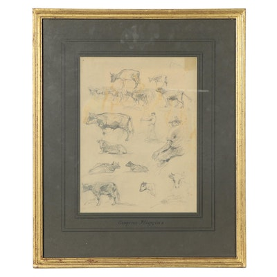 Eugene Higgins Bovine and Figural Charcoal Studies, Early 20th Century