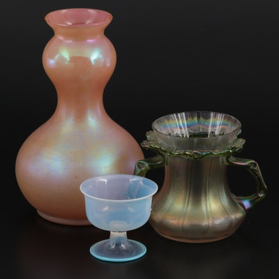 Favrile Glass Gourd Vase with Handled Vase and Opaline Cup, 20th C.