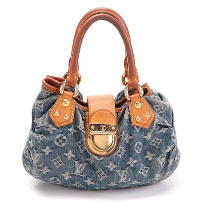 Louis Vuitton Small Pleaty Handbag in Monogram Denim