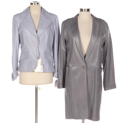 Donna Karan Leather Coat and Max Mara Lizard Skin Embossed Jacket