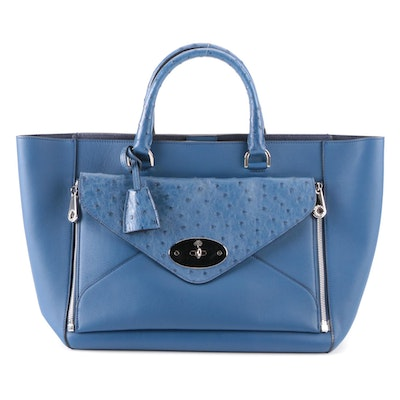 Mulberry Willow Tote Large in Blue Leather and Ostrich Skin