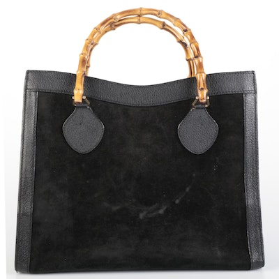 Gucci Bamboo Black Suede and Leather Tote