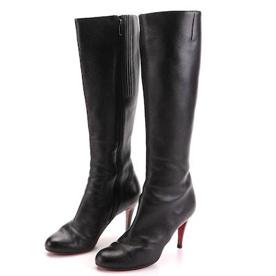 Christian Louboutin Simple Botta 100 Knee-High Boots in Black Calfskin
