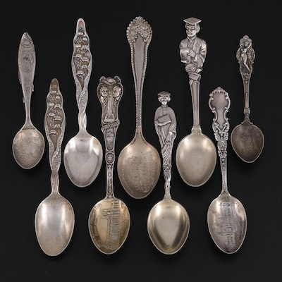 Gorham, Whiting, and Other Sterling Silver Souvenir Spoons and Teaspoons