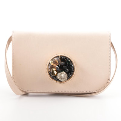 Marni Shoulder Bag in Nude Leather with Beading, Rock, and Metal Embellishment