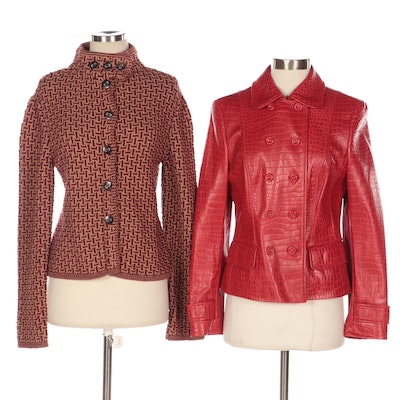 Escada Embossed Leather and Knit Jackets