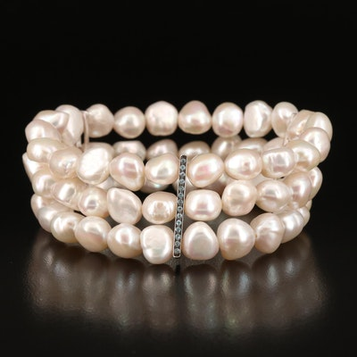 Sterling Pearl and Topaz Expandable Bracelet