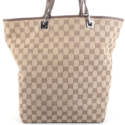 Gucci GG Canvas and Brown Leather Tote