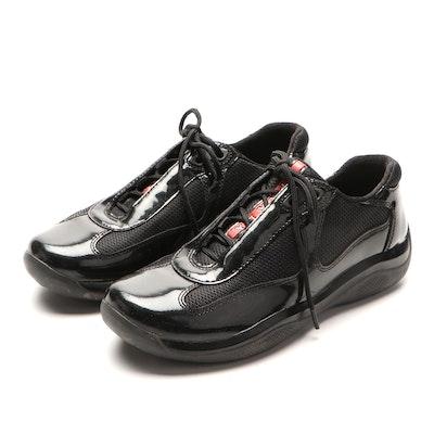 Prada Luna Rossa America's Cup Sneakers with Patent Leather Trim