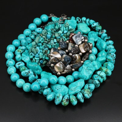 Shell and Magnesite Necklace and Bracelet
