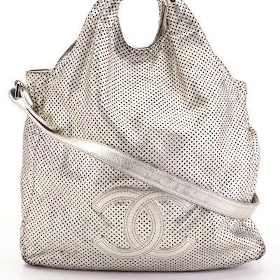 Chanel Medium Rodeo Drive Tote Bag in Pale Gold Perforated Leather